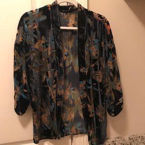 Crushed blue velvet kimono!